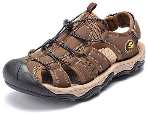 ODOUK Mens Closed Toe Hiking Sandals Water Beach Shoes for Traveling Walking Mountain Trail(Brown-a,7.5 M US)