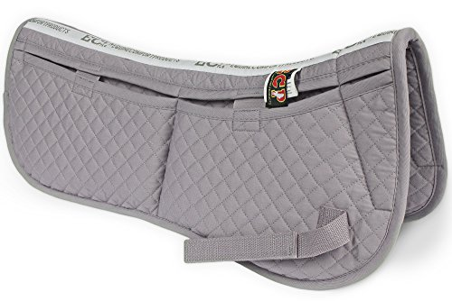(ECP Cotton Correction Half Saddle Pad - Memory Foam Pockets - Gray)