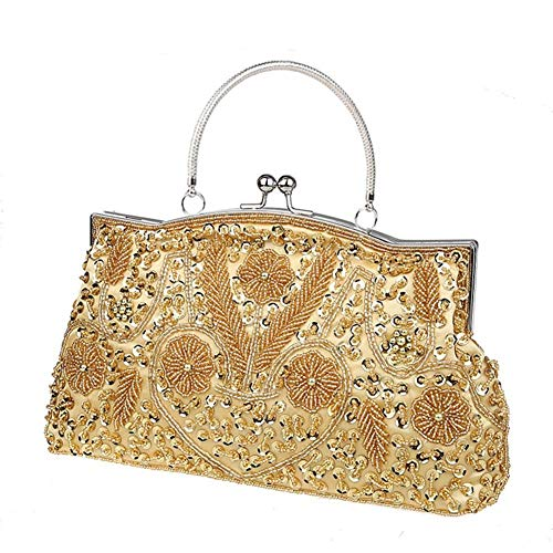 Vintage Embroidered Clutch Evening Women Handmade Handbag Purse for Clutch Evening for Girl Beaded Gold Bag LianLe Sequined Bag Wedding WwPx5Yq44v