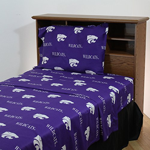 College Covers Kansas State Wildcats Printed Sheet Set Solid, Queen