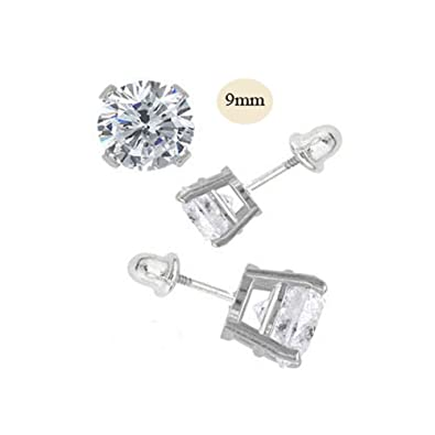 Image Unavailable. Image not available for. Color  14K White Gold 9mm Round  Simulated Diamond Stud Earring Set on Prong Setting b07d1dd350c6