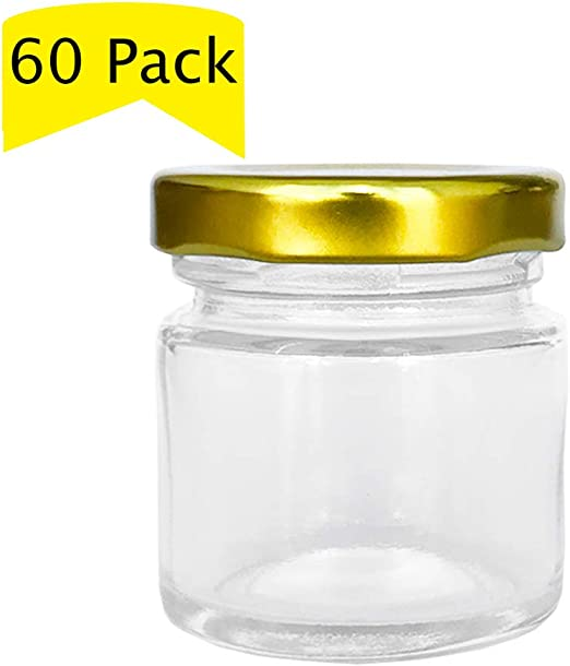Hex Hexagon With Gold Lids Glass Jars for CANDLES Jelly Jam 1.5 oz LOT of 24