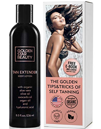 Best Sunless Tan Lotion - Tan Extender Daily Moisturizer - Best After Tanning Lotion w/Organic Oils and Hyaluronic Acid to Extend Your Tan from Sunless Tanner, Spray Tan, Sun or Tanning Bed 8.0 fl.oz.- Free eBook included