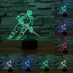 3D Ice Hockey Night Light Illusion Lamp 7 Color Change LED Touch USB Table Gift Kids Toys Decor Decorations Christmas Valentines Gift