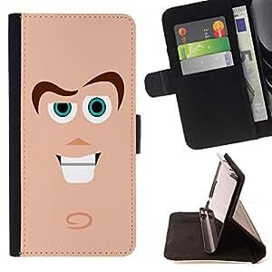 BullDog Case - FOR/Apple Iphone 5 / 5S / - / Cute Guy Face /- Monedero de cuero de la PU Llevar cubierta de la caja con el ID Credit Card Slots Flip funda de cuer