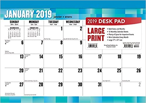Large Print 2019 17 X 12 Inch Monthly Desk Pad Calendar Easy To See