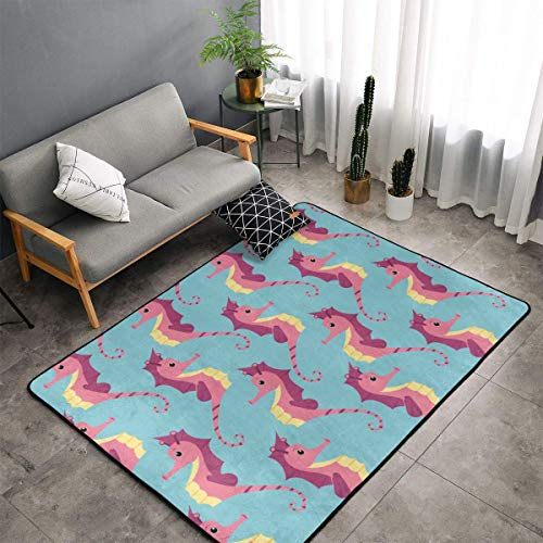 Bedroom Livingroom Sitting-Room Queen Size Kitchen Rugs Home Art - Cotton Cute Seahorses Funny Floor Mat Doormats Fast Dry Bathroom Rug Mat Yoga Mat Throw Rugs Runner -