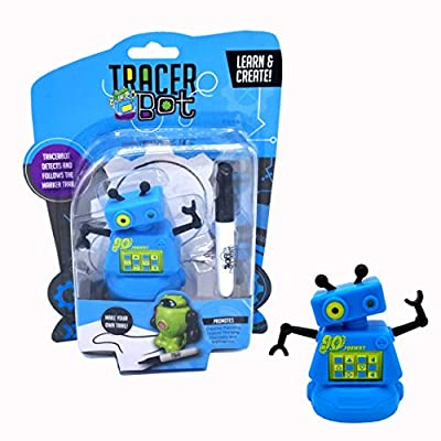 MUKIKIM Tracerbot - Blue – Mini Inductive Robot That Follows The Black Line You Draw. Fun, Educational, & Interactive Stem Toy with Limitless Ways to Play! Promotes Logic & Creativity Training: Toys & Games