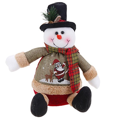Whitelotous Antique Linen Christmas Sitting Figurine Toy Santa Claus Snowman Ornaments Christmas Doll ()
