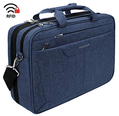 KROSER Laptop Bag 15.6 inch Briefcase Laptop Messenger Bag Water Repellent Computer Case Tablet Sleeve with RFID Pockets for College/School/Business/Women/Men-Blue