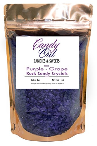 CandyOut Grape Purple Rock Candy Crystals 1 Pound in Sealed Stand Up (Purple Candy Canes)