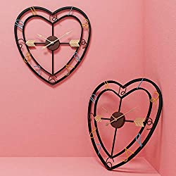 Longxs Creative Mute Wrought Iron Wall Clock Heart-Shaped Living Room Personality Fashion Nordic Home Decoration Wall Stickers Clock Wall Clock