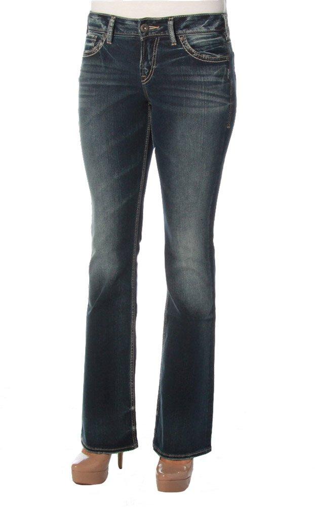 Silver Jeans Women's Suki Mid Rise Bootcut Jean, Indigo, 27x33
