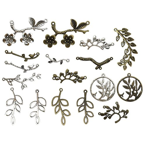 - 100g Branch Connector Charms Collection - Antique Silver Bronze Cherry Flower Peach Blossom Branch Round Branch Metal Alloy Pendants for Jewelry Making DIY Findings (HM90)