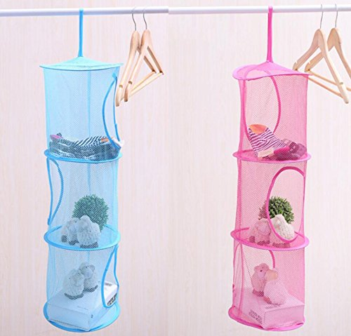 Hanging Mesh Space Saver Bags Organizer 3 Compartments Toy Storage Basket for Kids Room Organization mesh Hanging Bag KOOTIPS Kootips-1-4092
