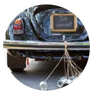 alfombrilla de ratón Vista trasera de un coche de época con apenas casado signo y latas de ATTAC - ronda - 20cm