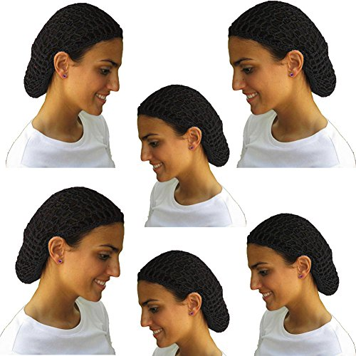 12 Beautiful Black Short Hair Net Snoods - Value Pack By CoverYourHair ()