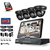 SANNCE 8CH 10.1 LCD Monitor Full 1080N HD DVR Recorder with 1TB Hard Drive and (4) 1.3MP 960P IP66 Metal Housing CCTV Cameras, High Definition H.264 Real-time Surveillance System