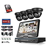 SANNCE 8CH 10.1'' LCD Monitor Full 1080N HD DVR Recorder with 1TB Hard Drive and (4) 1.3MP 960P IP66 Metal Housing CCTV Cameras, High Definition H.264 Real-time Surveillance System
