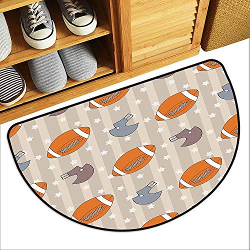 DILITECK Non-Slip Door mat Football Faded Stars and Stripes with Classical Sports Symbols USA Retro Tile Hard and wear Resistant W24 xL16 Orange Mauve Slate ()