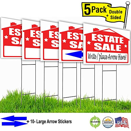 - Visibility Signage Estate Sale Lawn Sign Kit with and Arrow Stickers (5)