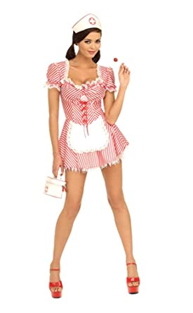 Secret Wishes Womens Candy Striper Adult Costume Mini Dress Red White Small