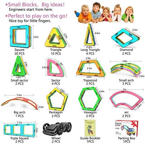 Jasonwell Magnetic Tiles Creative Magnetic Building Blocks Set for Boys Girls STEM Preschool Educational Construction Kit Magnet Stacking Toys for Kids Toddlers Children