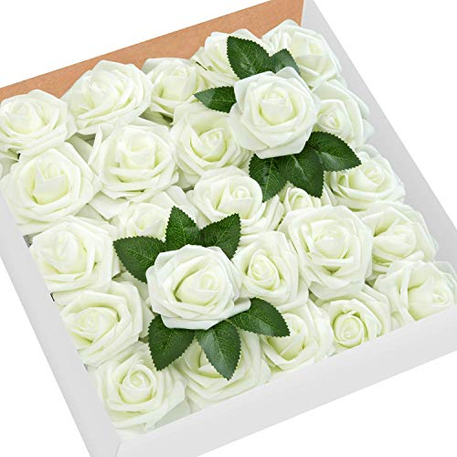 - MoonLa Artificial Flowers Ivory Roses 50pcs Real Looking Fake Flowers Foam Roses w/Stem DIY Wedding Bouquets Centerpieces Baby Shower Party Home Decorations