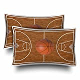 InterestPrint Sports Basketball Court Playtime Boys Wood Pillow Cases Pillowcase Standard Size 20x30 Set of 2, Rectangle Pillow Covers Protector for Home Couch Sofa Bedding Decorative