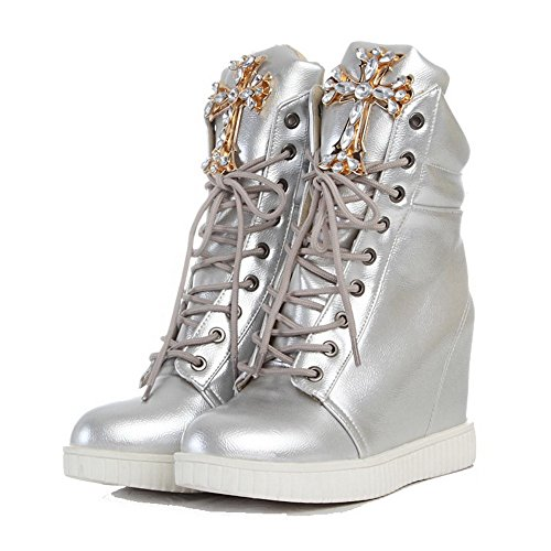 AllhqFashion Lace High Closed PU Silver Boots top Womens Round Heels Toe Low up rrxpC6nq