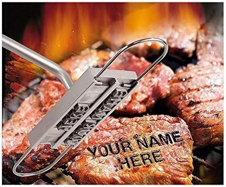HAPPYGOU BBQ Barbecue Marchio in Ferro Firma Nome Marcatura Strumento Timbro Carne Bistecca Burger 55 x Lettere e 8 spazi