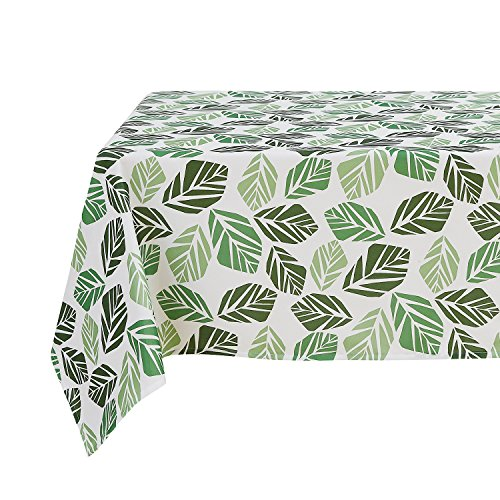 Deconovo Tablecloth Decorative Water Resistant Leaf Geometric Pattern Print Table Cloth for Square Table 54x54 Inch Green