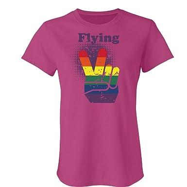 8c7c7802e8 Amazon.com: Customized Girl Peace Flying V Distressed: Ladies Slim ...
