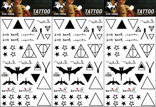 PP TATTOO 3 Sheets Temporary Tattoos Vampire bat Star Geometric Pyramid Triangle Fake Body Arm Chest Shoulder Tattoos for Men Women Boy Girls Birthday Party Art Fake Tattoo