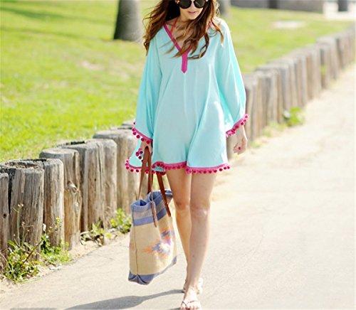 9204c384df9a ... Fanessy Lose Chiffon Damen Sommerkleider Strandkleid Große Größen Boho  Spitze Sexy Beachwear Bikini Cover Up Poncho