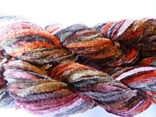 Autumn Harvest Tones Multicolor Worsted Weight Chenille Knitting Crochet Yarn