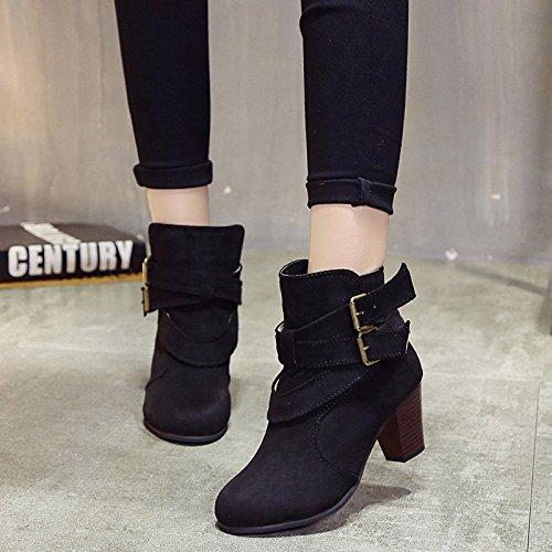 mujer y botas patios botas cortas Thirty invierno cinturones cinturón otoño hebilla de botones esmerilado Donyyyy del grandes seven botas q8ntwPZn