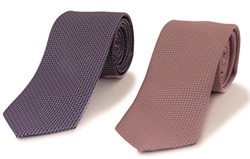 2 Men's Micro Silk Neck Ties - Business & Trendy Fashionable -604- (Christmas Silk Necktie)
