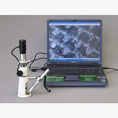 AmScope H100-E1 Digital Handheld Stand Measuring Microscope, 100x Magnification, 17mm Field of View, Includes Pen Light, 1.3MP Camera, and Software