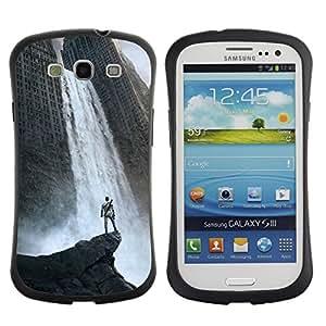 LASTONE PHONE CASE / Suave Silicona Caso Carcasa de Caucho Funda para Samsung Galaxy S3 I9300 / Waterfall Fantasy City