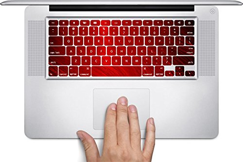 Red Line Xiii Game - Red Wavy Lines Macbook Keyboard Decals (Fits 13, 15 inch Air/Pro/Retina) by Moonlight Printing