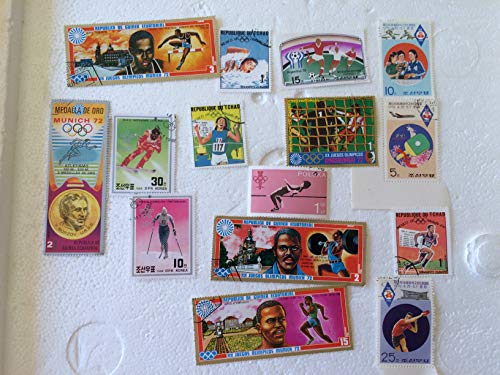 15 Sports stamps from around the world, vintage stamp collection set