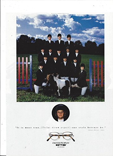 MAGAZINE ADVERTISEMENT For 1993 Oliver Peoples Glasses Equestrian - Oliver Sale Peoples