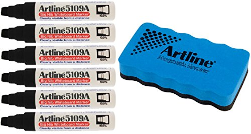(Jiffco Artline 5109A Big Nib Whiteboard Markers 6 Pack Black Bundle With Magnetic Eraser )