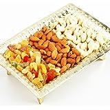 Ghasitaram Gifts Dry Fruit - Golden Dry Fruit Tray (Golden,Rectangle)