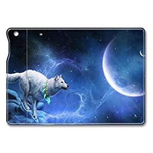 Brain114 iPad Mini Case - Folding Leather Cases for iPad Mini White Wolf With Moon Protective Stand Leather Cases for iPad Mini