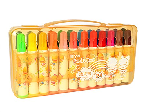 24 Pack Thick Colored Pens Watercolor Marker Pen with Handy Case, for Kids and Adults Coloring Book, Doodling, Drawing, Assorted Color (Yellow) (Case Watercolor Marker)