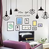 YUMULINN wallpaper stickers Wallpapers murals Nordic style paper modern European chandelier photo frame wall stickers living room bedroom decorative wallpaper self-adhesive, 60X90CM