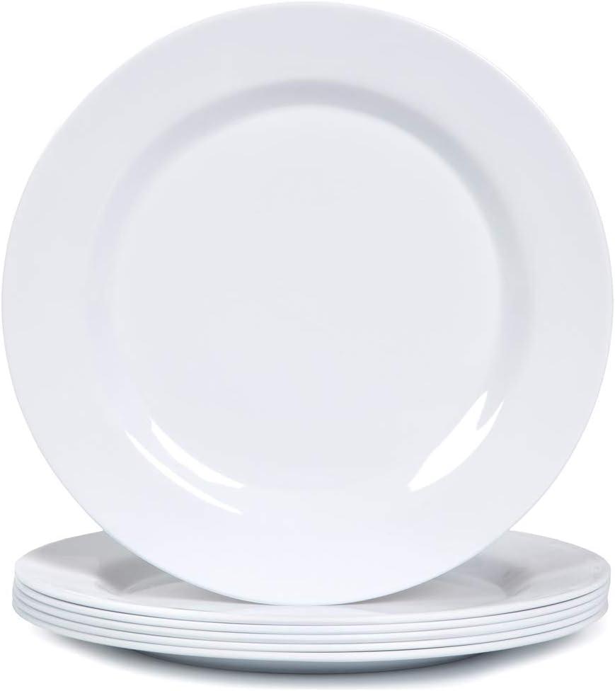 Melamine Dinner Plates Set - 10 3/4 Inch Dinner Dishes Set, 6pcs, White, Dishwasher Safe