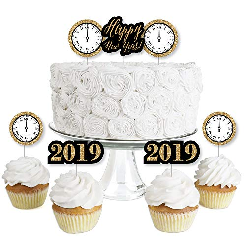 New Year's Eve - Gold - Dessert Cupcake Toppers - New Years Eve 2019 Party Clear Treat Picks - Set of 24